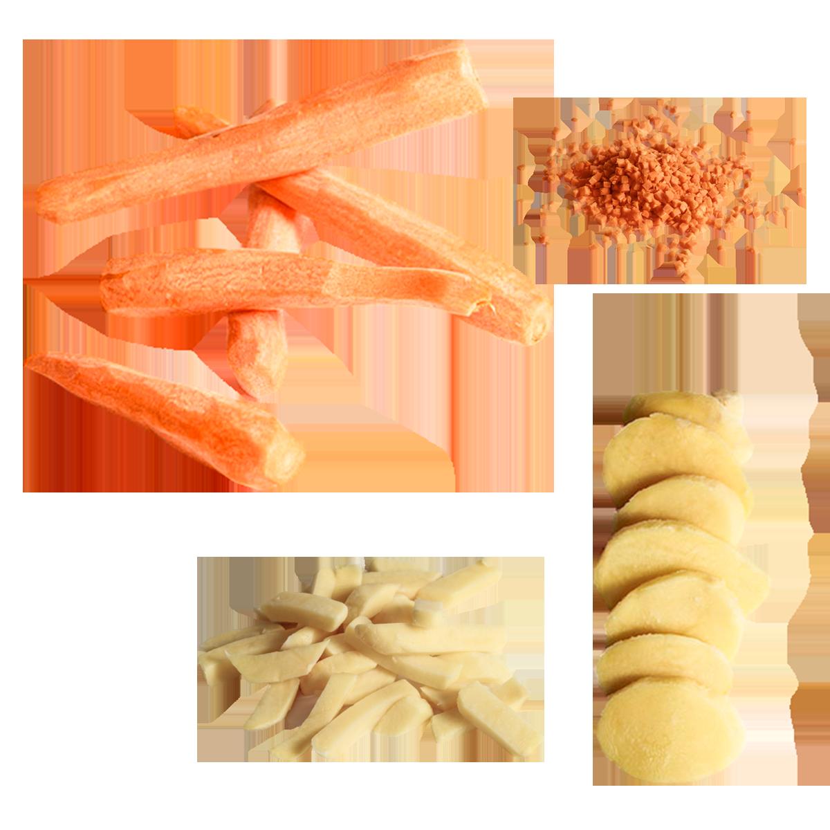 patatas y hortalizas frescas listas para cocinar
